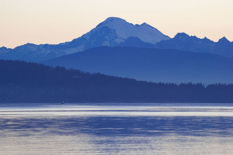 Blue Hour Mt Baker Washingto Puget Sound Anacortes, Wa Beauty In Nature Clear Sky Mountain Mountain Range Nature No People Outdoors Scenics Sea Tranquil Scene Tranquility Water