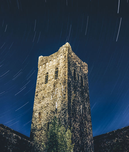 Stair Trail Abercarn Church Architecture Astronomy Blue Building Building Exterior Built Structure Clear Sky History Long Exposure Low Angle View Moonlight Nature Night No People Outdoors Plant Sky Space Star - Space Star Trail The Past Tower