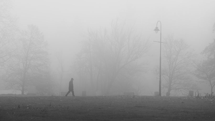 Man standing on field during foggy weather