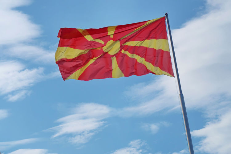Macedonian flag FYROM Macedonia Patriot Patriotic Patriotism Republic Of Macedonia Skopje Blue Cloud - Sky Flag Flying Macedonian Macedonian Flag National Icon Outdoors Patriotism Pole Pride Red Sky Symbol Textile Waving Wind Yellow