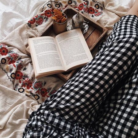Home Bed Book Check Pattern Cozy Floral Pattern High Angle View Indoors  Literature Reading A Book Turkish Coffee Urban Outfitters