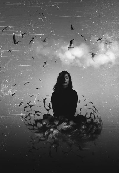 This picture shows responsibilities, in this case the crows, that keep us alienated from the freedom. Black And White Conceptual Crows Girl Mind  Photographer Photography Responsibility Surreal Surrealism And Fantasy Art Surrealist Art
