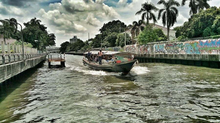 Water Boat River Outdoors HTC One M9 Mylife HTC_photography Life Is Beautiful Enjoying Life Htcphotography ความทรงจำผ่านมือถือ HTC Tree Water Nautical Vessel Transportation Boat Cloud Sky Built Structure Mode Of Transport Architecture Waterfront River Bridge - Man Made Structure