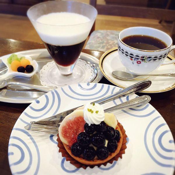 Coffee Coffee Time Cake Cakes Blueberry Blueberries ブルーベリー タルト コーヒー コーヒーゼリー ブランマンジェ フルーツ Cafe Cafe Time