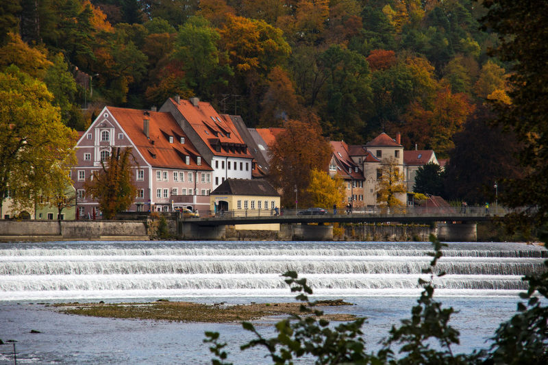 The old town of Landsberg with the river Lech crossing in fall colors. Architecture Autumn Beauty In Nature Building Exterior Built Structure Day House Landsberg Am Lech  Lech Motion Nature No People Outdoors Scenics Tree Water