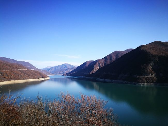 Ananuri Beauty In Nature Beauty In Nature Blue Blue Sky Clear Sky Day Georgia HuaweiP9 Lake Lake View Lakeshore Landscape Mountain Mountain Range Nature No People Oo Outdoors Reflection Scenery Scenic Scenics Sky Water
