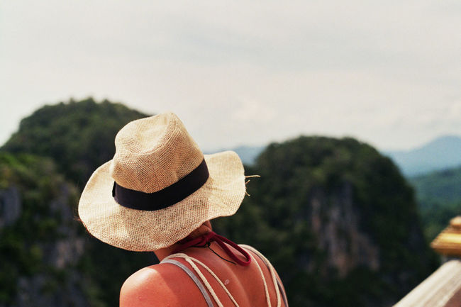 Afar Aim Backpacking Beautiful Benjy Focus Focus On Foreground From Behind Goal Hat Holiday Krabi Look Around  Observing Strawhat Thailand Woman