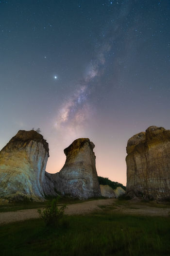 Rock formations at night