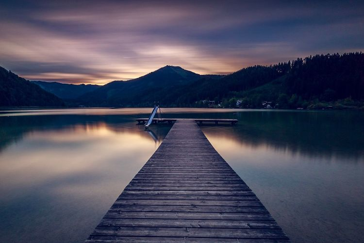 Erlaufsee Mountain Water Lake Scenics Sky Mountain Range Cloud - Sky Travel Destinations Outdoors Nature Beauty In Nature Sunset No People Pier EyeEmNewHere