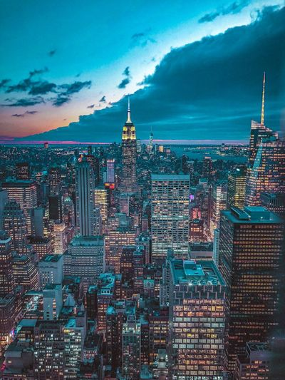 New York Architecture Building Exterior City Sky Built Structure Building Cityscape Cloud - Sky Travel Office Building Exterior Travel Destinations Skyscraper Urban Skyline Night Outdoors Water Illuminated Nature No People Tower