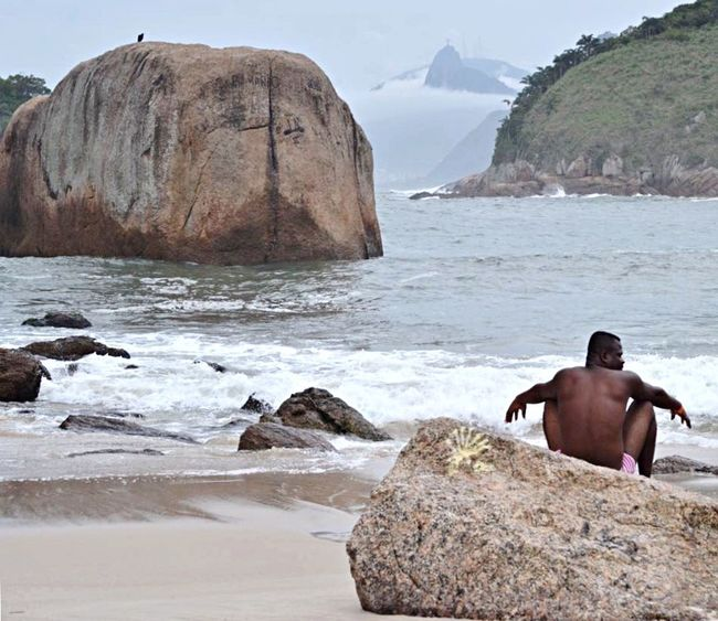 Water Sea Rock Rock - Object Beach Solid Shirtless Land Beauty In Nature Nature Real People Men One Person Scenics - Nature Outdoors Rock Formation Day