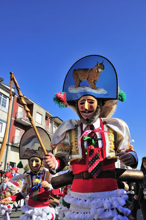 Verin Carnival Spain Tradition Verin Carnival Spain Verín Arts Culture And Entertainment Carnibal Carnibal Du Loup Clear Sky Clown Day Multi Colored One Person Outdoors People Performance Real People Sky