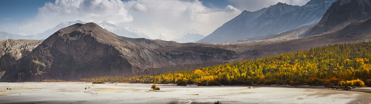 Panoramic view of Khaplu valley in autumn season. Ghanche, Gilgit Baltistan, Pakistan. Panorama Mountain Range Forest Foliage Pakistan Gilgit Baltistan Khaplu Valley Landscape Climate Ecology Environment Travel Scenery Destination Beauty In Nature Mountainscape Wilderness Autumn Countryside Wild Rural Peaceful Snow Capped Mountains Eco Tourism