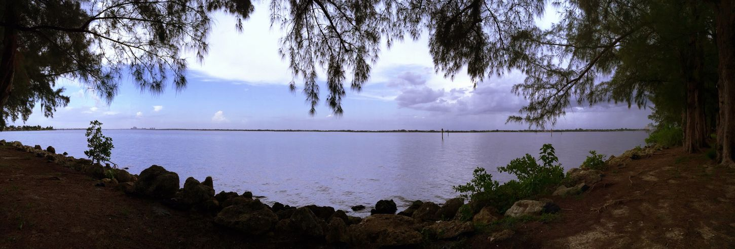 The Caloosahatchee River from the Cape Coral side. Water River Nature Panoramic