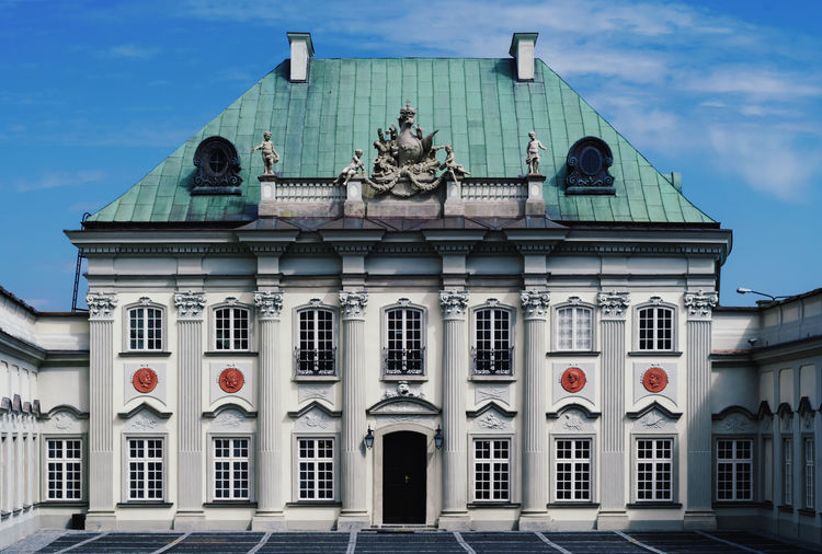 A baroque palace in the old town of warsaw