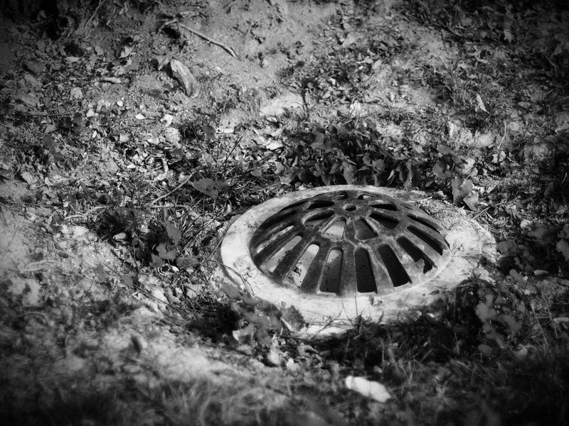 Abandoned Obsolete Run-down Vignette Deterioration Outdoors Day Man Made Object Nature Geometric Shape Round Circle Well  Drain Drain Cover Shallow Depth Of Field Monochrome Black And White Black&white Black & White Blackandwhite