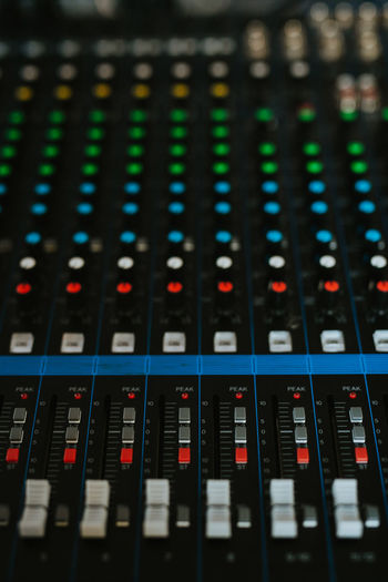 Full frame shot of sound mixer keyboard