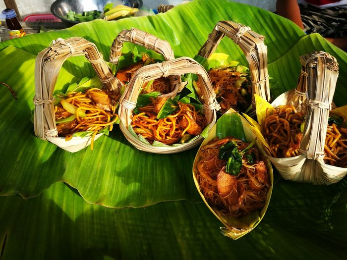 High angle view of food in baskets
