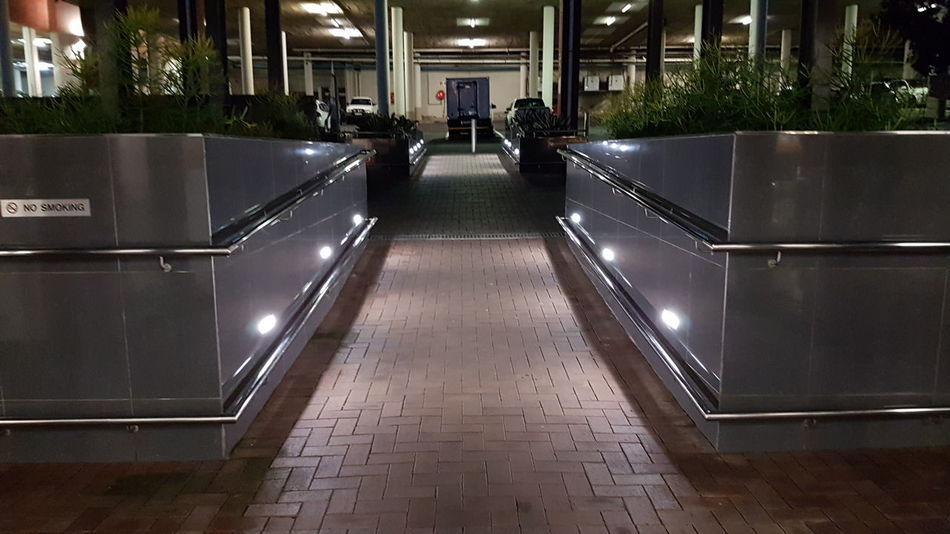 Architecture Built Structure Building Exterior Illuminated The Way Forward Railing Steps Long Narrow Modern City Life Diminishing Perspective No People Durban South Africa Urban Geometry Urbanphotography Urban Exploration Urban Photography Beauty In Creation