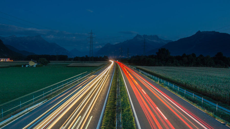 High Way Highway Highwayphotography Illuminated Light Trail Long Exposure Mountain Night Outdoors Road Speed Street Traffic Transportation