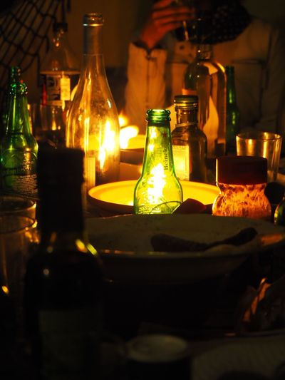 Fiesta barbecue 19' Fun Illuminated Table Container Bottle Indoors  Food And Drink Exploring Fun Night Glowing Glass - Material Drink Candle Selective Focus Glass Close-up Exploring Fun