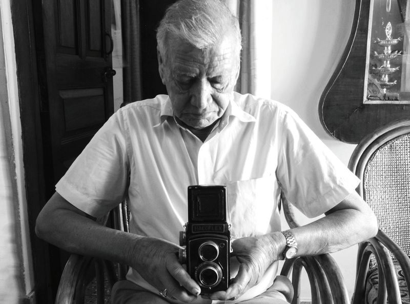 Film camera memories. Filmisnotdead Film Photography Film Camera Hacoflex DSLR Tlr TLR Camera TLR4LIFE Cameras Of EyeEm Old Man Old Elder Elderly Love Respect Uncle India Indoors  Tripod Tripod Photography Contrast Light Light And Shadow Shadowplay Walls