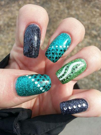 Naglar Nails Nailart  Gel Nails grönt är skönt :-)
