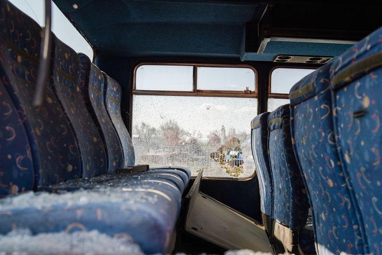 Interior of damaged bus