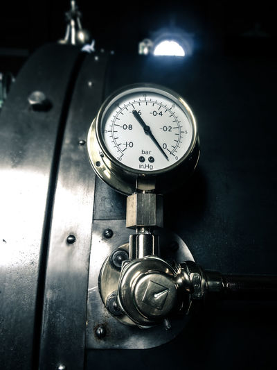 Pressure gauge on machinery in textile mill