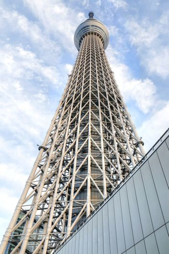 Architecture Blue Sky White Clouds Building Exterior Built Structure City Japan Low Angle View Outdoors Sky Skyscraper Tokyo Tokyo Skytree Tower
