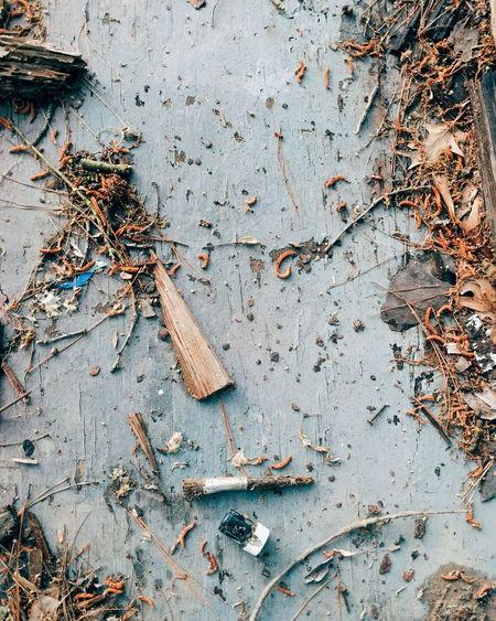 Detail shot of messy ground