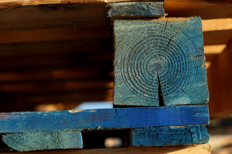 Abstract No People Focus On Foreground Close-up Still Life Textured  Wood - Material Blue Pattern Industry