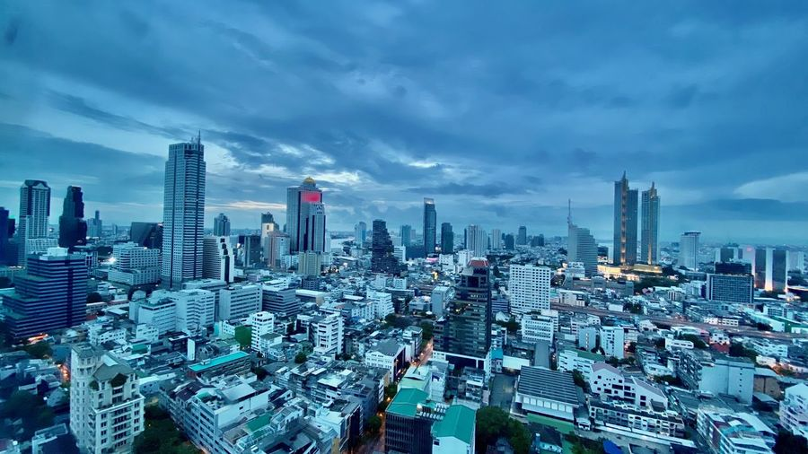 Bangkok city skyline high angle view