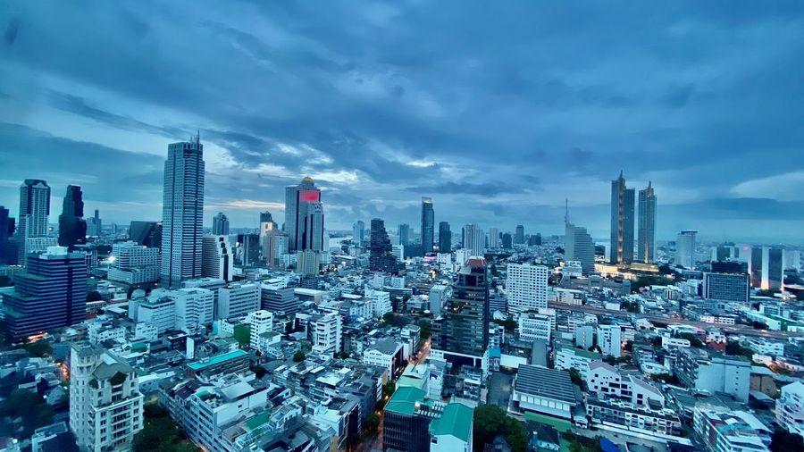 Bangkok city skyline high angle view