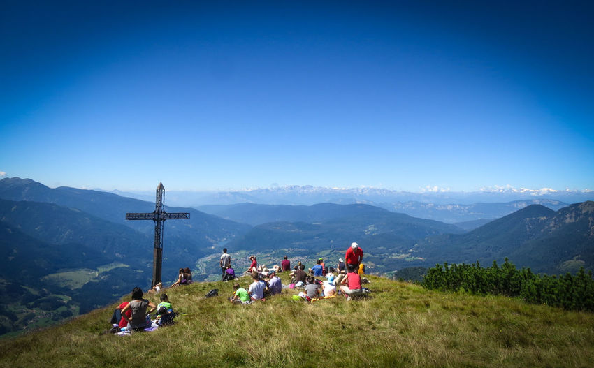 A picnic at 2200m high in the Italian Mountains Clear Sky Croce Di Cornon Cross Hiking Italy Mountains Italy🇮🇹 Landscape Leisure Activity Mountain Mountain Range Nature Picnic Picnic Mountain Resting Place Resting Time Summer Summer Views Summertime Tranquil Scene Vacations Val Di Fiemme