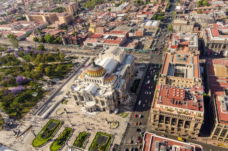 Aerial view of palacio de bellas artes in city
