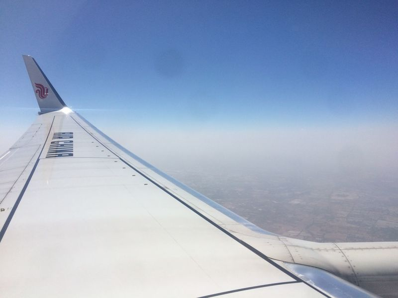 Aerial View Air China Aircraft Wing AirPlane ✈ Beijing Sky Smoggy Sky
