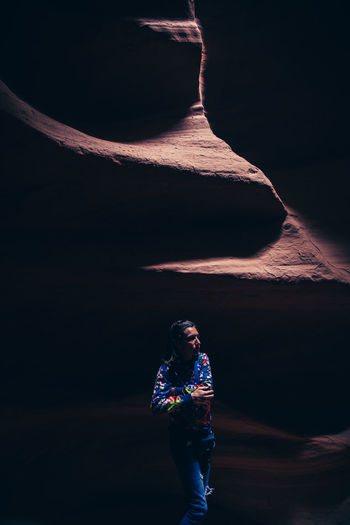 Adult Adults Only Antelope Canyon Beauty In Nature Casual Clothing Moon Nature Night One Person One Woman Only Outdoors People Real People Rear View Sky Standing Travel Destinations USAtrip Young Adult Young Women The Traveler - 2018 EyeEm Awards