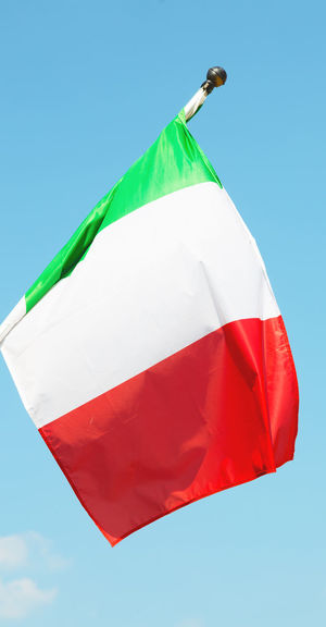 Flag Italy Isolated Sky Blue National Green Red White Wind Europe Background Country Nation Symbol Banner Color Rome Culture Patriotic Wave Pole Vintage European  Patriotism Mast Object Nobody Day Freedom Boat Design Waving Image Sign Emblem  Vessel Republic Blowing Italia Texture Closeup Travel Fluttering Single History Striped Silk Cloud Concept
