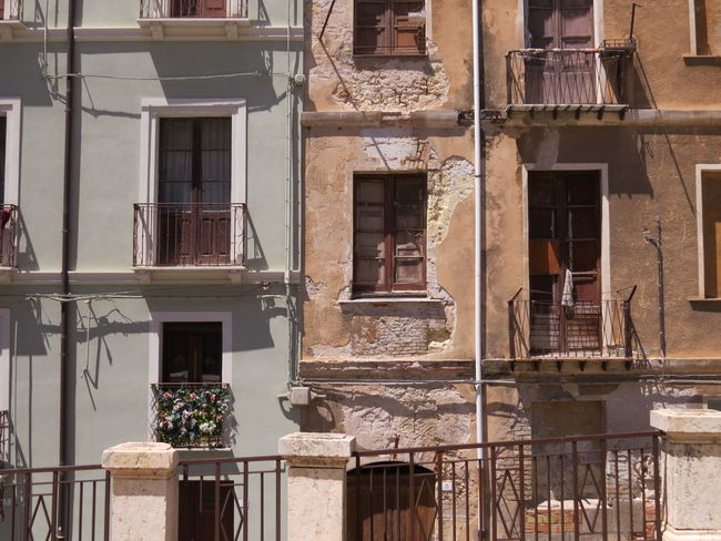 Architecture Architecture Architecture_collection Balcony Building Building Exterior Built Structure Cagliari Cagliari, Sardinia Contradiction Contrast Contrasting Architecture Contrasts Dichotomy Divide Divided Doors New And Old Old And New Opposites Poor And Rich Residential Building The Architect - 2017 EyeEm Awards Window Windows