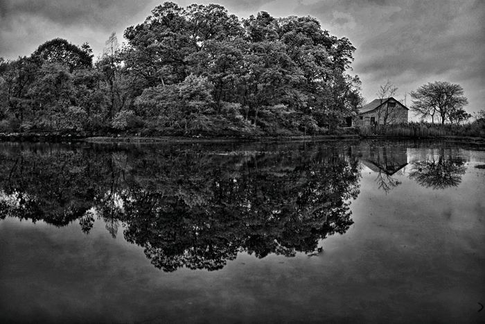 The Cabin and the Lake Nature Blackandwhite Landscape Water_collection
