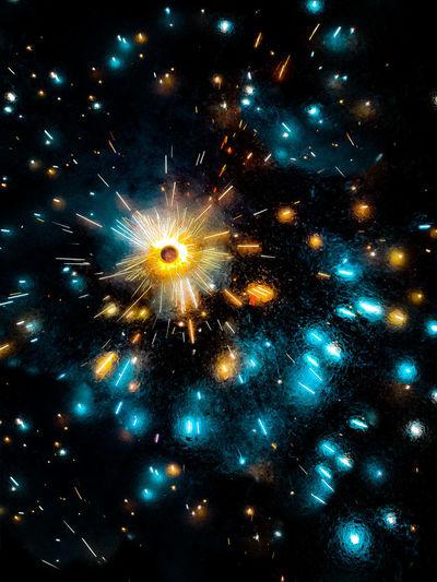 Firework display over sea