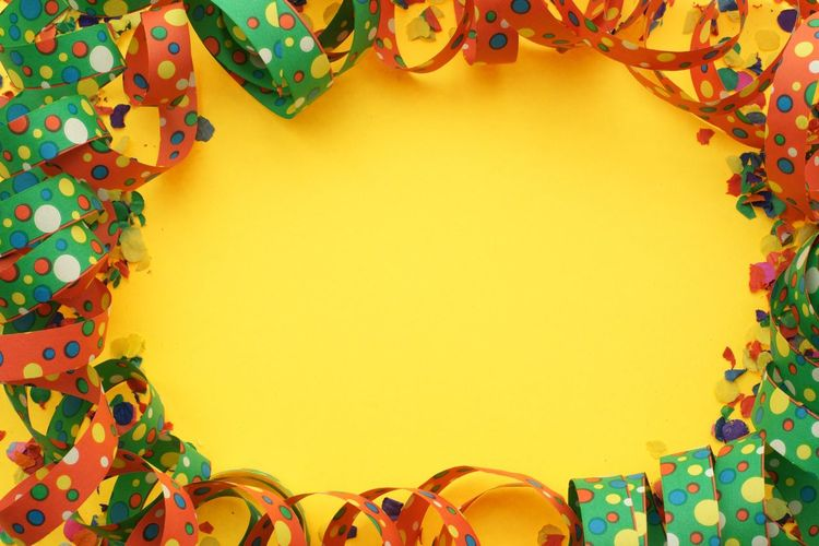 Party background Copy Space Party Invitation Party Invite Party Yellow Nobody Luftschlangen Party Background Carnival Karneval Multi Colored Pattern No People Yellow Art And Craft Decoration Floral Pattern Creativity Backgrounds Copy Space Orange Color