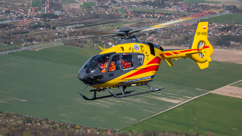 Air Airbus Ambulance Ec135 Emergency Eurocopter H135 Helicopter Hems Mazovia Medical Poland Rescue Service Warsaw Yellow
