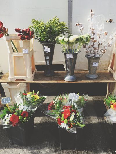 High angle view of flower bouquets for sale