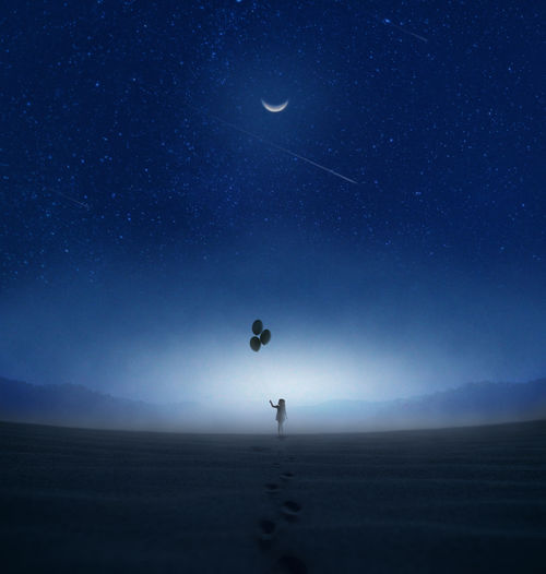 Silhouette girl holding balloons while standing on land against sky at night