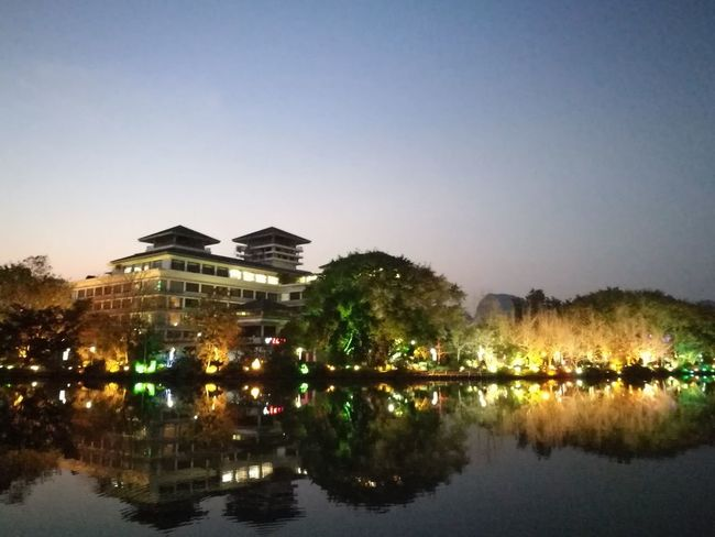 Happy Year 2018, my dear friends. Reflection Water Architecture Business Finance And Industry Clear Sky Sky History Lake Night Symmetry Building Exterior Tree City Outdoors Illuminated