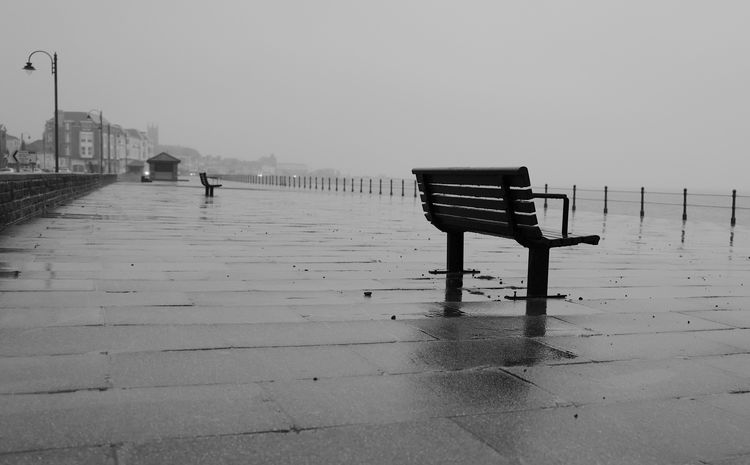 slate grey day Bench Black & White Black And White Photography Blackandwhite Photography Dull Day Empty Empty Bench Leica Penzance  Raining Sea Front Street Photography The Street Photographer - 2017 EyeEm Awards