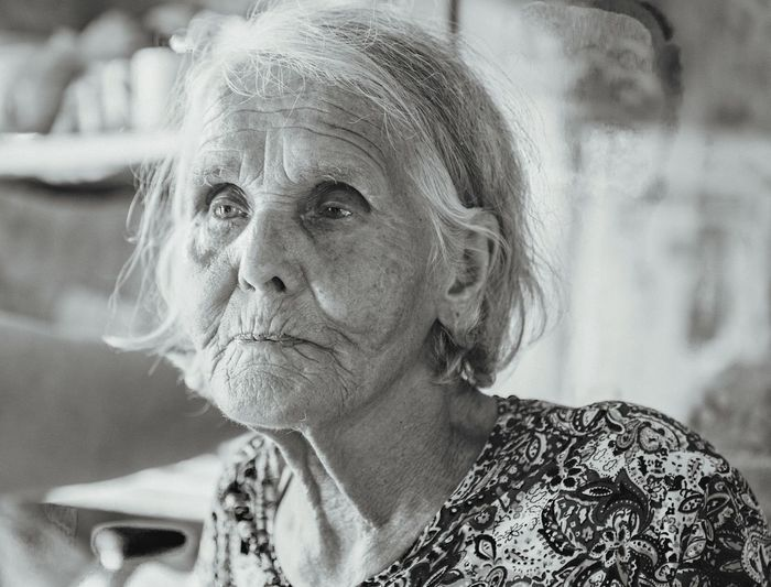 Close-Up Of Senior Woman Looking Away