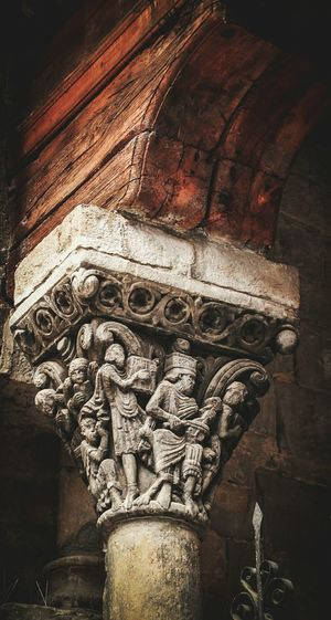 Art And Craft Sculpture Human Representation No People Low Angle View Close-up Bas Relief Statue Outdoors Day Architecture Check This Out EyeEm Gallery Travel Romanic Cathedral Jaca Huesca Chapitel Capitel Culture ArtWork Handmade Architectural Detail Architectural Column